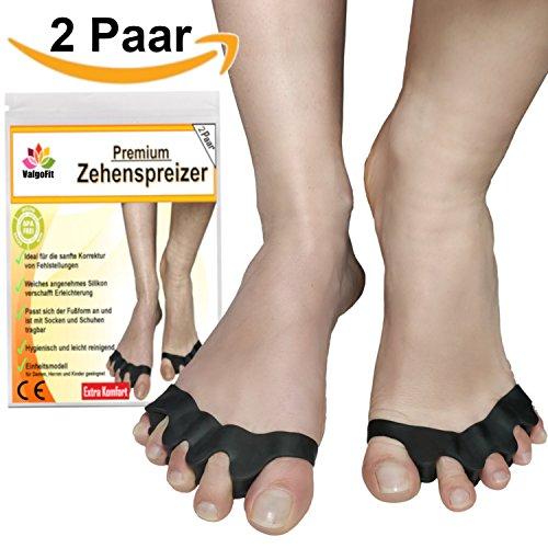 4x Zehenspreizer gegen Hallux Valgus Krallenzehen von Spring One - Bandage Korrektur Separator - Zehentrenner Schiene aus weichem Softgel-Silikon für Damen und Herren - Hautfreundlich und BPA Frei - Für Schuhe auch als Einlage geeignet