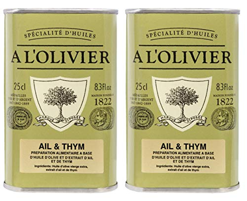 A l'Olivier - 2er-Set Provence Olivenöl mit Knoblauch & Thymian (Ail & Thym) - 2 x 250 ml -