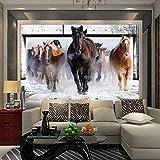 Fotomurales Personalizado paño de seda 3D Mural Wallpaper grande sala de estar dormitorio TV sofá fondo de paja de papel tapiz que cubre la pared galopando caballo 3D 200x140cm