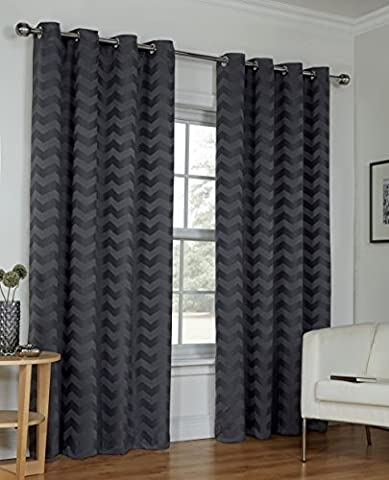 Ready Made Grey Curtains Zig Zag Effect Design Ring Top Eyelet Lined Sizes Pair [Size 90