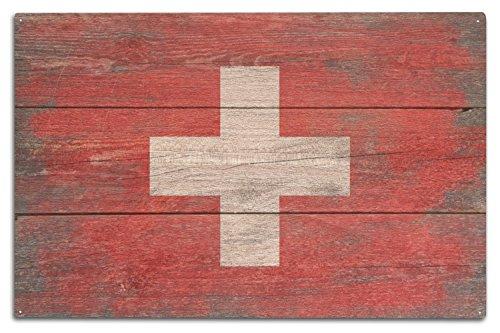 Die Schweiz-antiken-karte (Rustikal Schweiz Land Flagge, holz, mehrfarbig, 10 x 15 Wood Sign)