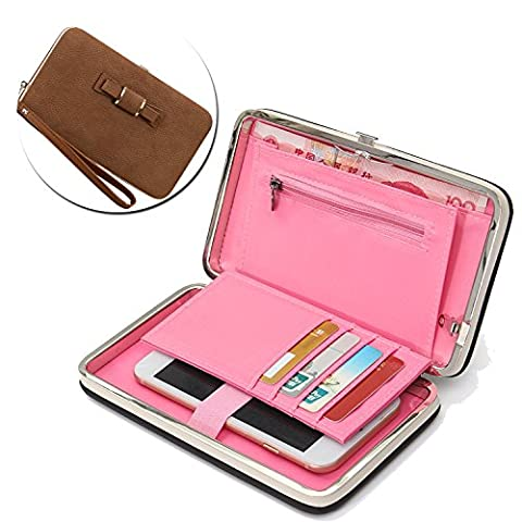 Ladies Purse Universal PU Wallet, Vandot Elegant Phone Clutch Purse Bag, [Large Capacity] Storage Phone Cover With Wrist Strap /Card Holder Slots /Passport Case /Driving license Folder, Mobile Phone Bag for Women Multi-function Protective Flip Cover Case for iPhone X /8 /8 Plus /7 /7Plus /6S /6S Plus /6 /6Plus /SE /5S, Galaxy S8 Plus /S8/ /A3/A5/A7/J3/J5/J7 2017, Huawei Mate 9/P10/P9/P8 Lite, Sony Xperia XZ/XA, HTC 10, LG K10 /K8 2017 etc. -Bow Tie Knot [BROWN]