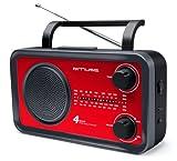 Muse M-05RED Küchenradio (FM, MW, LW, KW) Radio, Netz- und Batteriebetrieb, Teleskopantenne, AUX-In, rot