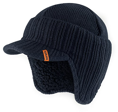 Gorro Peaked Beanie con orejeras negro, aislante, tejido de punto, térmico, para invierno, elegante, de Scruffs azul marino Talla única