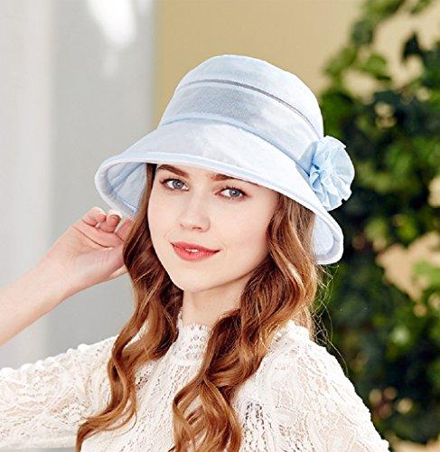 Jysport d'été Chapeau de soleil femme UV Chapeau de plage pour femme Seau Chapeau à large bord bleu