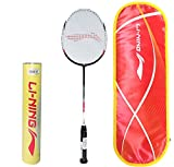 Li-Ning Professional Badminton Combo (US909 High Tension Graphite Badminton Racquet + Champion Pro Feather Shuttlecock, Pack of 12)