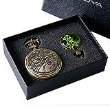 Geschenk für Kinder, Doctor Who Taschenuhr, Geschenkset für Jungen und Herren, Cooles Dr. Who Taschenuhren, mit grünem Glaskuppel-Anhänger, Halskette, Jungen und Herren