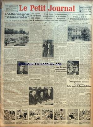 PETIT JOURNAL LE No 23824 Du 29/09/1933 - L'ALLEMAGNE DESARMEE PAR MAGNE - M. PAUL-BONCOUR S'EST ENTRETENU AVEC M. VON NEURATH - M. SERGE NICOLESCO SECRETAIRE PARTICULIER DE M. DUFRENNE EST LONGUEMENT ENTENDU - LE GOUVERNEMENT ET LA REPONSE DU SYNDICA