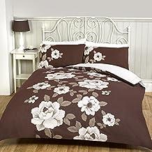 Pieridae Classic Floral Marrón Funda de edredón de sábana bajera y funda de almohada, diseño de flores, 50% algodón/50% poliéster, marrón, matrimonio