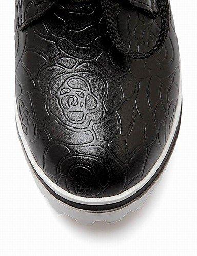 WSS 2016 Chaussures Femme-Bureau & Travail / Habillé / Décontracté-Noir / Blanc-Talon Compensé-Compensées / Talons / A Plateau / Bout Arrondi- black-us5 / eu35 / uk3 / cn34
