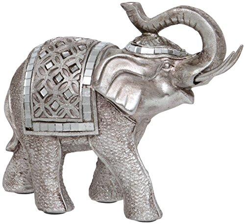 Maturi–Raised tronco Buda estilo figura de elefante, de metal, multicolor, 16.76X 5,08X 12,7cm