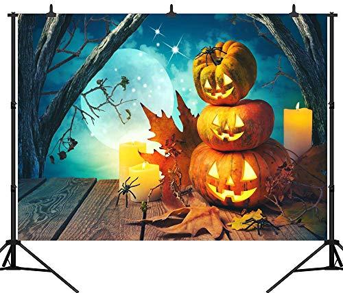 (Aliyz PGT260B Fotohintergrund für Halloween-Partys, Holz, Kürbis-Laterne, 270 x 180 cm)