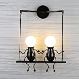 FSTH Creativo Lámparas de Pared Simple Fashion Doll Swing Lámpara de Pared Moderna Apliques de Pared Metal Lámpara de Pared para Dormitorio, Escalera, Pasillo, Restaurante, Cocina E27 (Negro-2)
