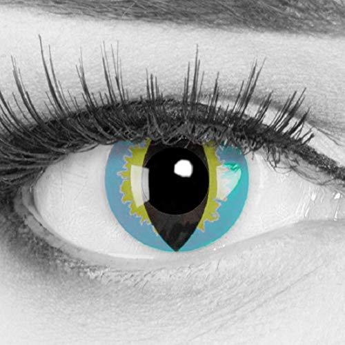 Farbige Kontaktlinsen Jahreslinsen Meralens 1 Paar blaue Katzen Crazy Fun Lizard. Topqualität zu Fasching Karneval Fastnacht Halloween mit Kontaktlinsenbehälter ohne Stärke
