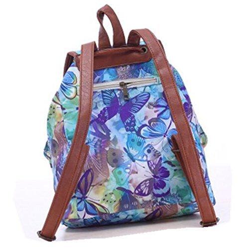 ERWAA Rucksack Damen Schultasche Mädchen Schulrucksack Vintage Retro Canvas Schultasche Daypacks für Teenager Studenten Universität Outdoor Camping Picknick Außflug Freizeit Blau Blumen