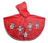 Egmont Toys Regen Cape, Kinder-Regenumhang, Kinder-Regenumwurf, Motiv: Roboter, in rot, Größe: 18-36 Monate