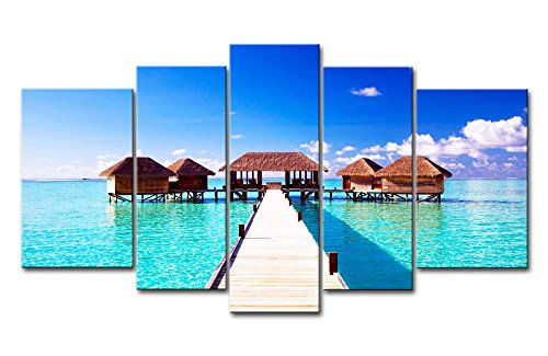 Leinwanddruck Bild für Home Decor Malediven Meer House Clond 5Gemälde Moderne Giclée-gespannt und gerahmt-Kunstwerken Öl die Seascape Bilder Foto Drucke auf Leinwand