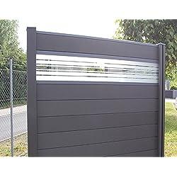 WPC / BPC Sichtschutzzaun dark grey 3 Zäune inkl. 4 Pfosten und Verglasung Sichtschutz Gartenzaun Zaun terrasso