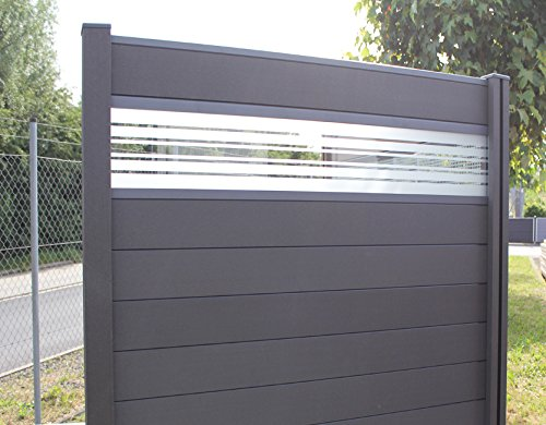 *WPC / BPC Sichtschutzzaun dark grey 2 Zäune inkl. 3 Pfosten und Verglasung Sichtschutz Gartenzaun Zaun terrasso*