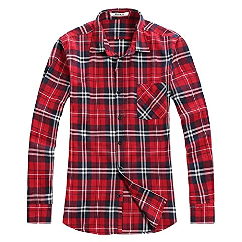 OCHENTA Men's Long Sleeve Plaid Flannel Shirt N001 Classic Red