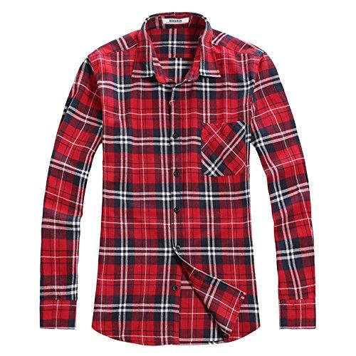 OCHENTA -  Camicia Casual  - Maniche lunghe  - Uomo N001 Classic Red