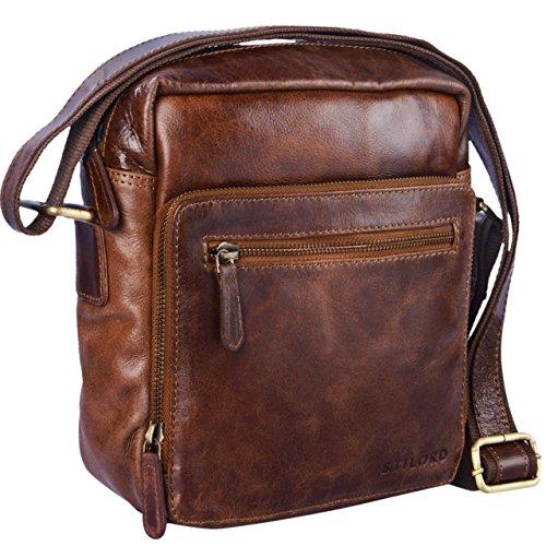 STILORD 'Nathan' Borsello da Uomo a tracolla in pelle Piccola borsa messenger in Cuoio a Spalla per Viaggi Escursioni, Colore:cognac marrone scuro marrone antico
