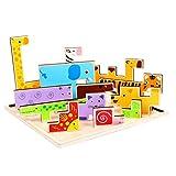 Momola En bois Jigsaw girafe animaux bloc jouets, Tetris jeu Kids éducation émotion apprentissage saisir intéressant culture capacité de formation jouets...