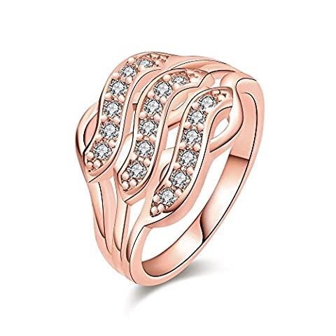 Thumby Geometric Zircon Ring for Women,Rose Gold Plated,8