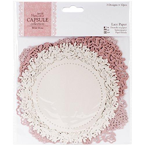 Papermania Capsule Collection Confezione da 12 fogli di carta pizzo Wild Rose