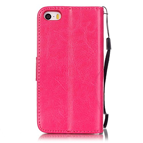 iPhone Case Cover IPhone 5 5S SE Housse Folio Flip, Housse Portefeuille Avec Trésor Et Slot Carte Premium Housse En Silicone En Cuir PU Pour iPhone 5 5S SE ( Color : Red , Size : IPhone 5S SE ) Rose