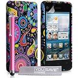 Huawei Ascend Y300Schutzhülle Floral Qualle Silikon Gel Cover mit Stylus Pen