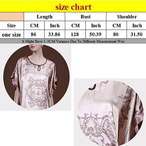 Zhhlaixing Women's Lady's Retro Style Satin Silk Short Sleeves Lingerie Nightdress brown