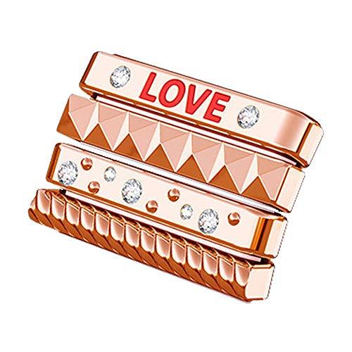 Colorful Sparkles Metal iWatch Rings Loops mit Strasssteinen Alphabet-Inlay für 40mm Apple Watch Serie 4-Schieben Sie sie einfach EIN und aus Uhrenarmband, Rose Gold -