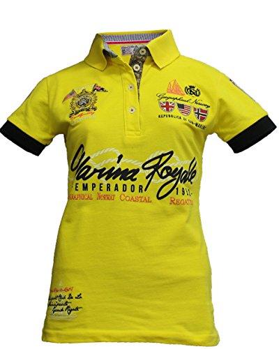 Geographical Norway Original Poloshirt für Damen - Modell: KIPAWA - Frauen - Stylisches Casual Kurzarm Polo Shirt für Freizeit - Sport - T-Shirt- Gr. M (Herstellergröße: 2), Gelb -