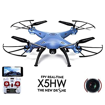 JZK® Syma X5HW quadcopter drone camera HD photo & video RTF FPV WiFi real-time transmission, perfect gift for kids or adults(blue)