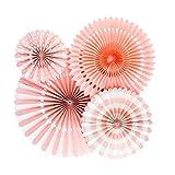 Blesiya 4pcs Papierfächer Deko Papier Fächer Rosetten Blumen Raumdeko Papierrosetten Hängedeko - Rosa, 20cm
