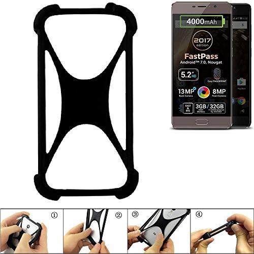 K-S-Trade Handyhülle für Allview P9 Energy Lite (2017) Schutz Hülle Silikon Bumper Cover Case Silikoncase TPU Softcase Schutzhülle Smartphone Stoßschutz, schwarz (1x)