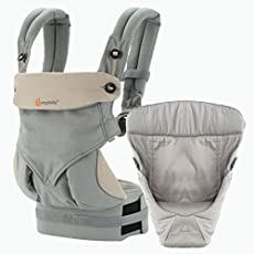 Ergobaby 360 All Carry Positions Bundle of Joy with Easy Snug Infant Insert Baby Carrier (Grey)
