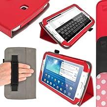 """igadgitz Rojo 'Portfolio' Eco-Piel Funda Case Cover para Samsung Galaxy Tab 3 Tablet SM-T210 SM-T210R SM-T211 P3200 P3210 7.0"""" 3G WiFi Android Jelly Bean 4.1. Con Correa de mano integrado + Protector de Pantalla."""