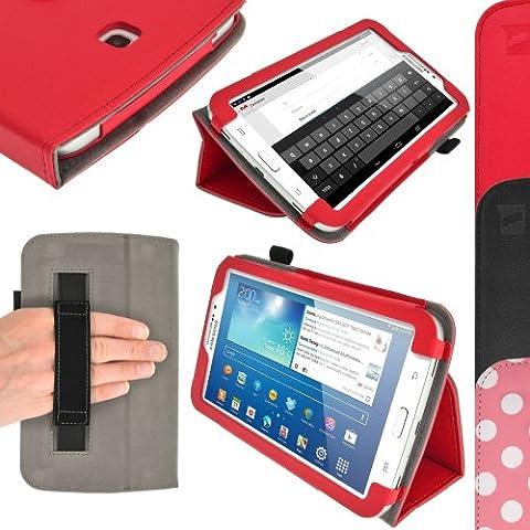 igadgitz Rojo 'Portfolio' Eco-Piel Funda Case Cover para Samsung Galaxy Tab 3 Tablet SM-T210 SM-T210R SM-T211 P3200 P3210 7.0