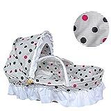 EEvER Moskitonetz für Bettüberdachung Tragbare Babywiege mit natürlicher Maisschale, Babyschlafkorb mit Quiltkissen und Moskitonetz, 0-8 Monate (Kleiner Punkt)