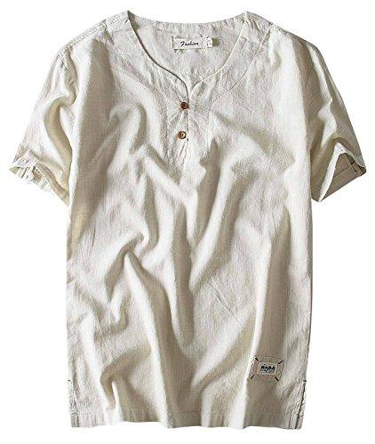 Aieoe Camisa para Hombre Verano Manga Corta Sin Cuello Tops Casual con Botones Lino Transpirable Elegante Confortable XL Caqui