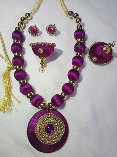 J Creations Purple Color Silk Thread Fashion Jewellery Set With Necklace And...
