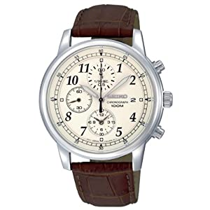 Reloj Seiko SNDC31P1 de caballero de cuarzo con correa de piel marrón - sumergible a 100 metros de Seiko