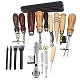 Souarts 19 tlg Leder Werkzeugset Fertigkeit Handwerk Werkzeug Set Schneiden Nähen Schnitzen Stanzen Lochen DIY Leather Punch Lederbearbeitung