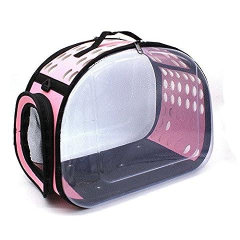 KAI-Sac à dos chien paquets PET pet portable animaux de compagnie hors sac à dos transparent?42X28X30cm?Transparent powder