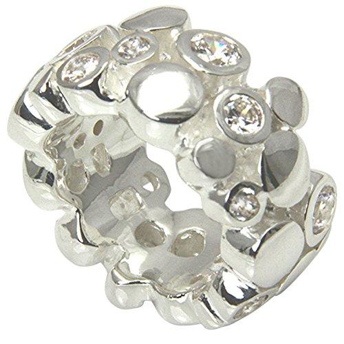 Skielka Designschmuck massiver Ring hochwertige Goldschmiedearbeit aus Deutschland mit Zirkonia Steinen (Sterling Silber 925) außergewöhnlicher Schwerer Silberring - Zirkonia Ring - Damenring (9 Mens Sterling Größe Ring Silber)