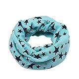 CLOOM_Accessoires Kinder Schal CLOOM Warm Winter Loop Schal Cool Sterne muster Drucken Schlupfschal Junge Mädchen unisex Kopftücher Tücher Halstuch in verschiedenen Farben Baumwolle Schal (Blau B)