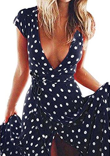 Sommer Damen Lange Kleid mit Bandagen Mode Gepunktet Kleid Strandkleider Sexy Tief V Ausschnitt...