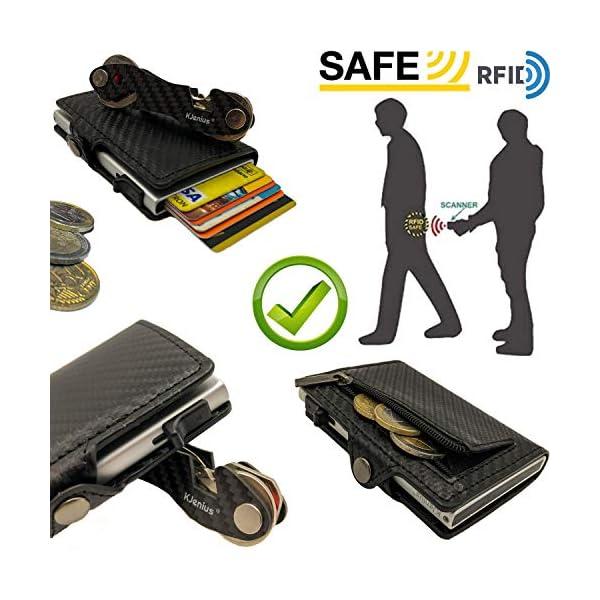 Portafoglio Porta Carte Di Credito Uomo Donna Pelle Fibra Di Carbonio Protezione RFID NFC Antifrode Sottile Slim Zip… 5 spesavip